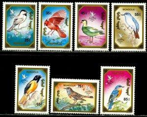 MONGOLIA Sc#1934-1940 1991 Birds Complete Set OG Mint NH