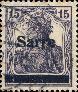 SARRE / SAARGEBIET - 1920 Mi.7.a.III blackish grey-violet 15pf t.III F/VF Used