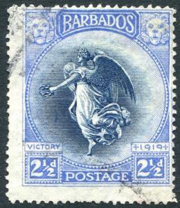 BARBADOS-1920-21 Victory 2½d Indigo & Ultramarine Sg 205 GOOD USED V26202
