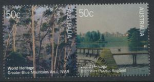 SG 2502a  SC# 2370a  Used se-tenant pair World Heritage Sites