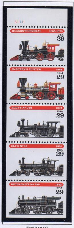 United States Sc 2847a 1994 29 c Steam Locomotives stamp booklet pane mint NH