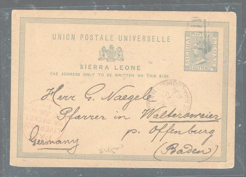 SIERRA LEONE (P3005B) QV PSE 1 1/2D FREETOWN TO GERMANY WITH MSG 1889
