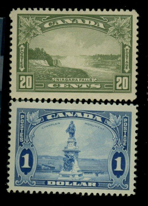 Canada #225,227 MINT VF OG HR Cat$80