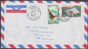 NEW CALEDONIA 1970 cover Noumea to New Zealand - Bird & Shell..............53884