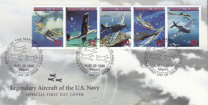 Marshall Islands 1998 Legendary Aircraft  US Navy (25) 5 First Day Covers VF+