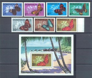Dominica 1975 butterflies insects set+s/s MNH