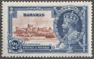 Bahamas stamp, Scott#93,  mint, hinged, 2 1/2D,  ultra, #93