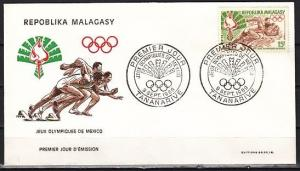 Malagasy Rep., Scott cat. 429. Summer Olympics issue. First day cover.