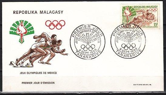 / Malagasy Rep., Scott cat. 429. Mexico Summer Olympics issue. First day cover.