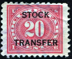 RD28 20¢ Stock Transfer Stamp (1928) Used