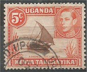 KENYA, UGANDA, TANZANIA 1949 used 5c, Dhow, Scott 68