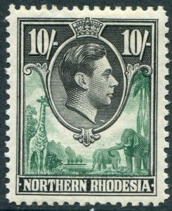 NORTHERN RHODESIA-1938-52 10/- Green & Black Sg 44 LIGHTLY MOUNTED MINT V48311