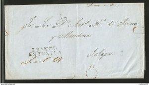 J) 1830 MEXICO, PRESTAMP, CIRCULATED COVER, FROM FRANCO EN TUXTLA TO JALAPA