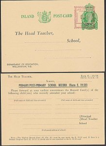 NEW ZEALAND Education Dept QE 2d Official postcard - uprated 1d by meter....Q333