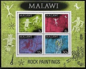 MALAWI, 189A, MNH, SS OF 4, ROCK PAINTINGS