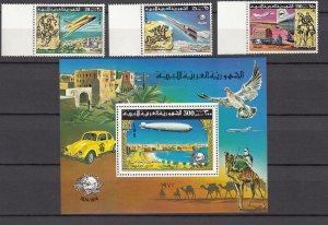 Z300 1977 libya set + s/s mnh #675-8 airplanes