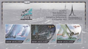 New Zealand # 1827b, America's Cup with STAMPSHOW Melbourne, NH, 1/2 Cat.