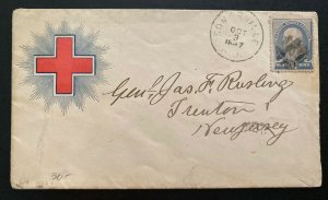 1887 Somerville NJ USA Red Cross Cover To Civil War General James Rusling