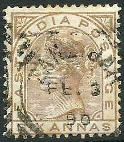 Zanzibar SGZ60 6a Pale Brown Z5 Squared Circle dated 3rd Feb 1888