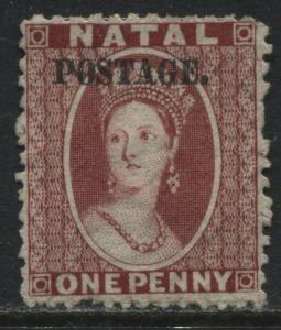 Natal QV 1869 1d rose overprinted Postage unused no gum