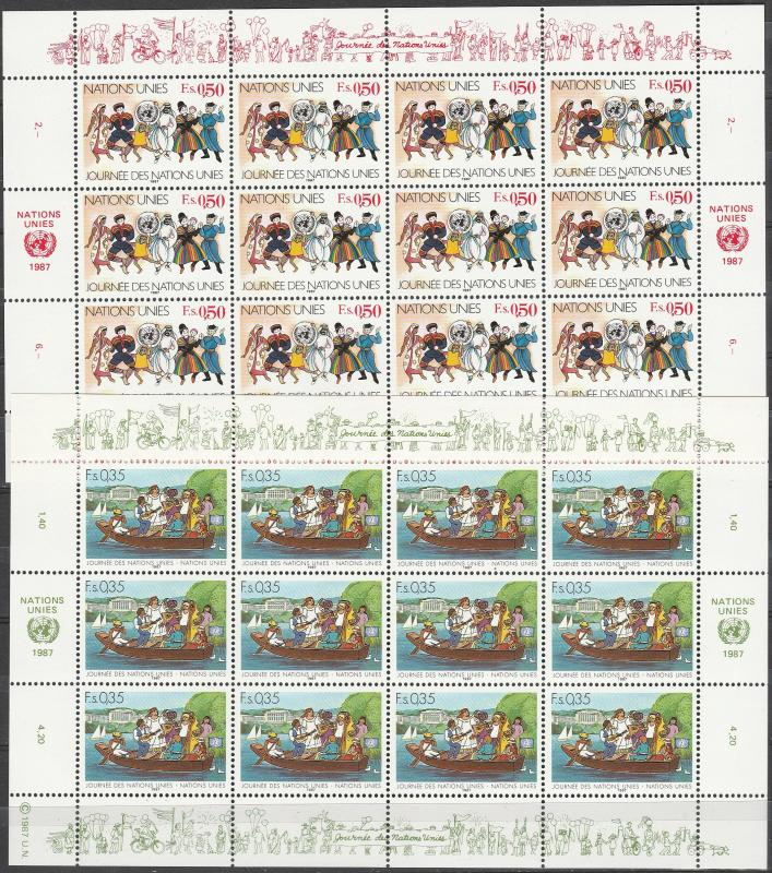 United Nations Geneva #158-9  Panes Of 12 MNH CV $15.00  (A3386L)