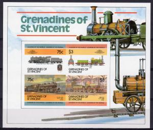 St. Vincent Grenadines Sc#345a 1984-87 Trains S.S.IMPERF.W/NUMBER MNH