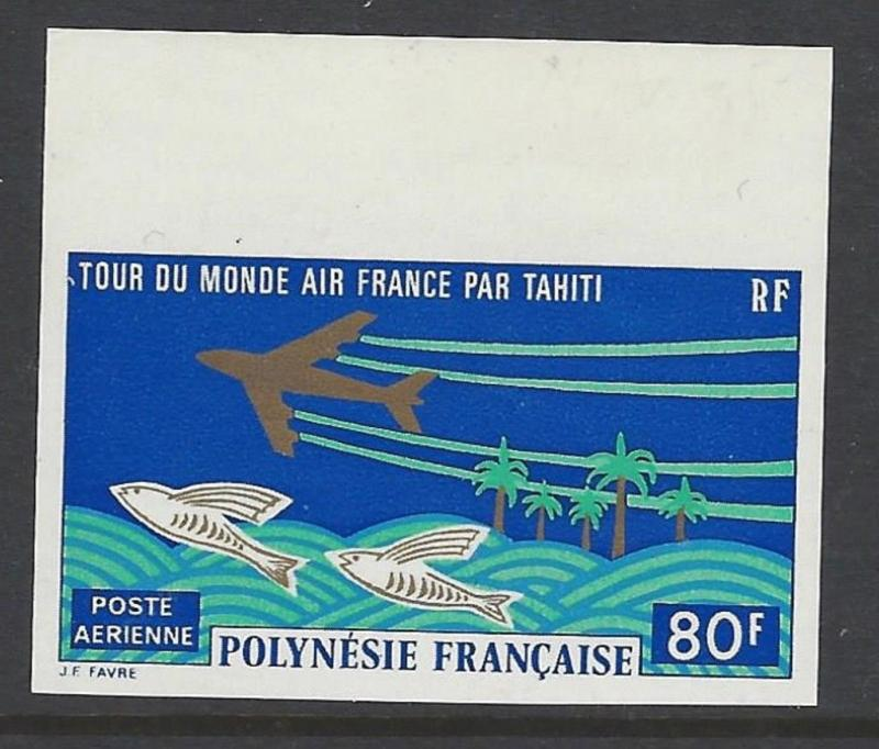 French Polynesia 1973 Jet Air France World Tour Imperf VF MNH (C96)
