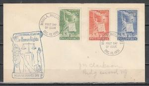 Philippines, Scott cat. 572-574. Human Rights, U. N. issue. First day cover.