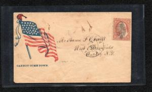 #26  1857 3c Wast'n on CLEAR colorful CIVIL WAR PATRIOTIC COVER