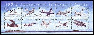 British Indian Ocean Territory 272, MNH, Centennial of Powered Flight min sheet