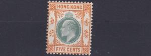 HONG KONG  1904 - 06    SG 79  5C  GREEN & ORANGE BROWN  LMH  CAT £75