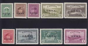 Canada Scott #O1 - O10 set VF never hinged nice color cv $ 311 ! see pic !