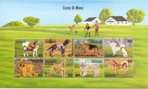 Central African Republic. 1999. 2316-25 bl628. Dogs. MNH.