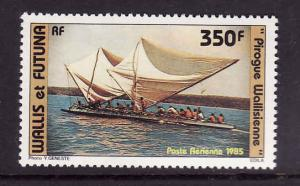 Wallis & Futuna-Sc#C142-unused NH Airmail set-Boats-Island Pirogue-1985-