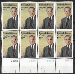 USA # 1503 Lyndon B. Johnson  plate block 8    (1)  Mint NH