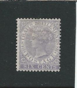 STRAITS SETTLEMENTS 1867-72 6c DULL LILAC MM SG 13 CAT £150