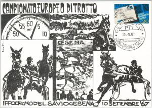 HORSE RACING -  ITALY: ILLUSTRATED Card with special postmark CESENA Forli 1967