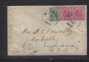 SARAWAK COVER (P0401B) 1908 4C PR +2C  KUCHING TO USA