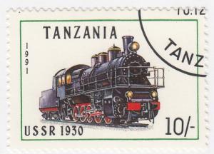 Tanzania, Sc # 800, CTO-NH, 1991, Locomotive, Train