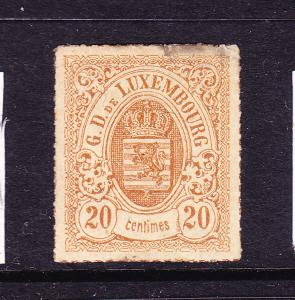 LUXEMBOURG  1865-74  20c  ARMS  ROULETTE  MLH  Sc 21a