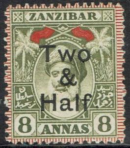 ZANZIBAR 1904 SULTAN TWO & HALF ON 8A