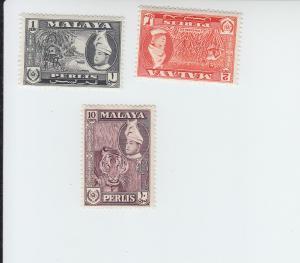 1961-62 Malaya Perlis Scenics (Scott 114-5, 119) MH