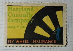 Fly Wheel Insurance Maryland Casualty Co Baltimore Insurance Co Poster Stamp Ad