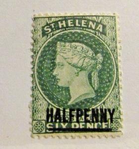 ST HELENA Scott #34 * MH , Victoria stamp, fine + 102 card