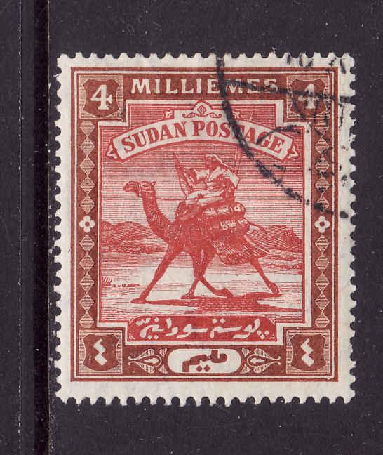Sudan-Sc #21-used 4m brn & red-1907-Camels-