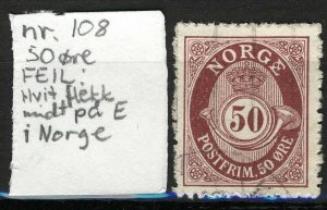 Norway 1909-19, NK 108 Variant coloured Spot in large E