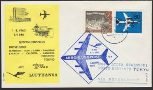 GERMANY 1963 Lufthansa first flight cover to Tokyo Japan....................H312