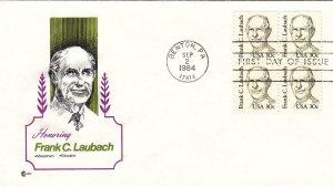 1984, Honoring Frank C. Laubach, Cachet Craft, FDC (D12730)