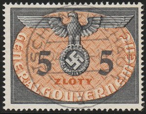 Stamp Germany Poland General Gov't Official Mi 15 Sc NO15 1940 WW2 Reich Used