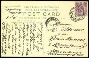 EDW1949SELL : SINGAPORE Choice 1908 Picture Post Card to Germany.